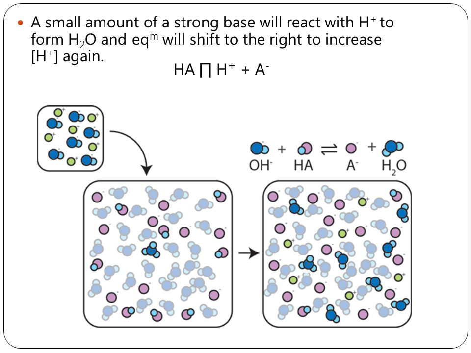 A small amount of a strong base will react with H+ to form H2O and eqm will shift to the right to increase [H+] again.